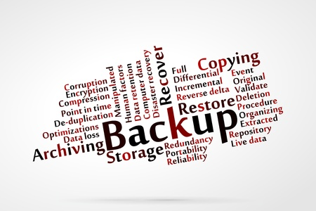 copying: Backup word cloud with data background