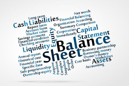 contabilidad financiera cuentas: Balance palabra nube con fondo de hoja de datos Vectores
