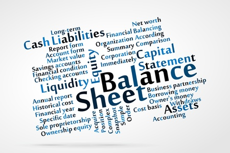 checking accounts: Balance Sheet word cloud with data sheet background