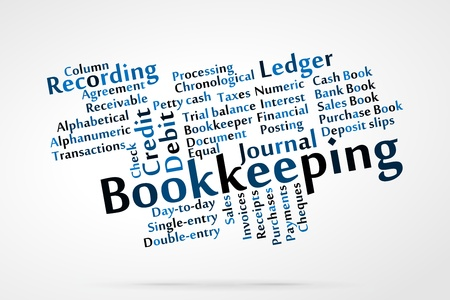 bookkeeper: Bookkeeping word cloud with data sheet background Illustration
