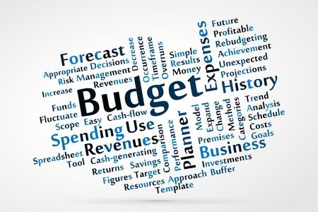 podatek: Chmura słowo budżet Ilustracja