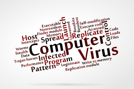 intercept: Computer virus word cloud with data background Illustration