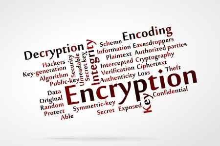 Encryption word cloud Vectores