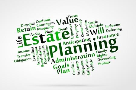 Estate planning woordwolk Stock Illustratie