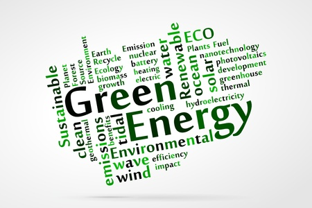 hydroelectricity: Green Energy word cloud Illustration