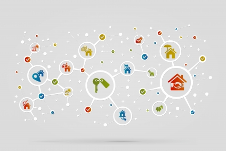 Real estate icons abstract vector background Vector