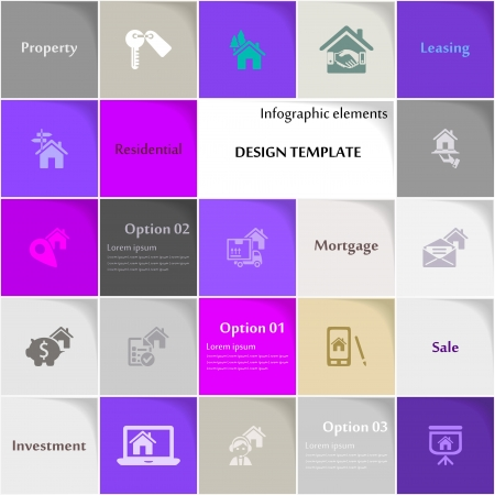 key signature: Real estate icon set abstract background Illustration