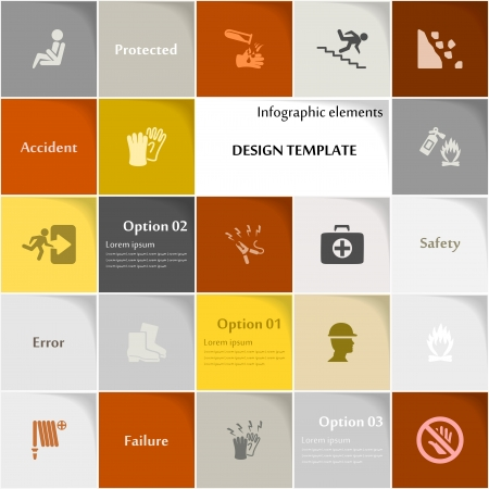 Safety icon set abstract background Vector