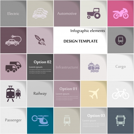 Transport icon set abstract background Vector
