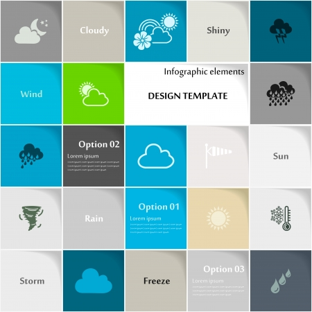 climatology: Weather icon set abstract background