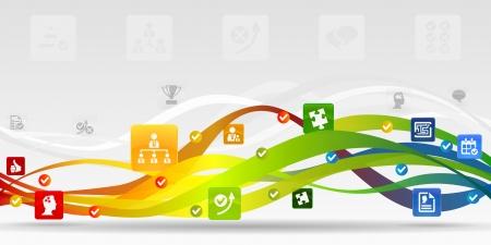 ビジネス戦略モバイル アプリケーション抽象的な背景  イラスト・ベクター素材