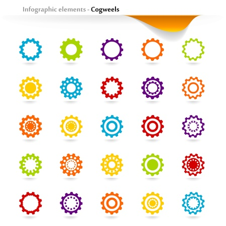 inforgaphic: Collection of inforgaphic cogwheels