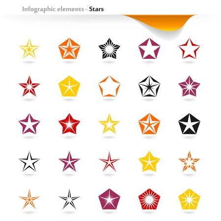 plain button: Collection of inforgaphic stars