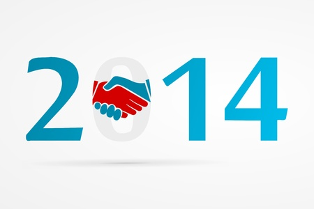 Year 2014 with shake hands  Stock Vector - 21360864