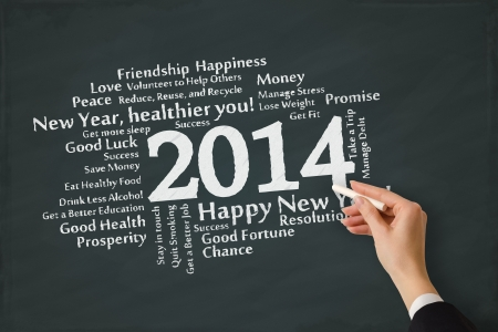 Year 2014 resolution concept on a chalkboard Stock Photo - 21360874