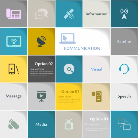 Communication icon set abstract background Vectores