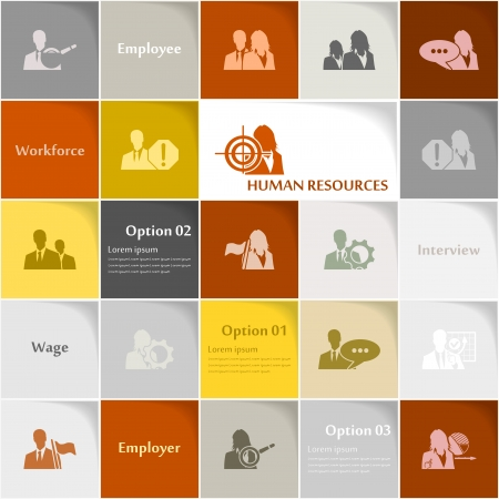 Human resources icon set abstract background Vector