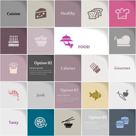spaghetti bolognese: Food icon set abstract background