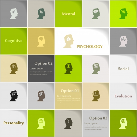 brain storm: Psychology icon set abstract background Illustration