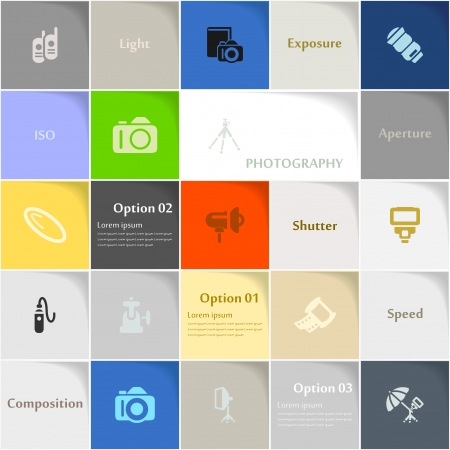 editing: Photography icon set abstract background Illustration