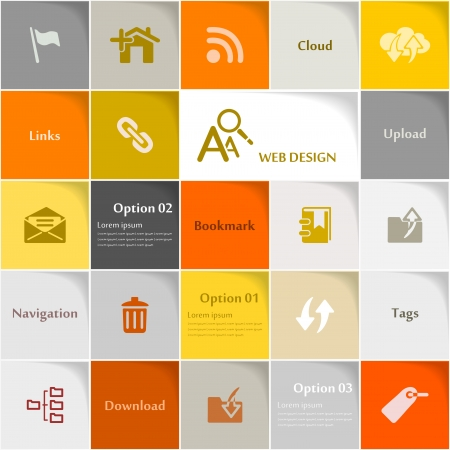 Web design icon set abstract background Vector