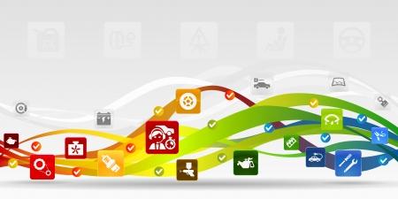 ガレージ モバイル アプリケーションの抽象的な背景