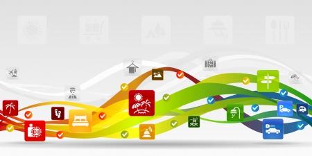 absztrakt: Nyaralás mobil alkalmazások absztrakt háttér Illusztráció