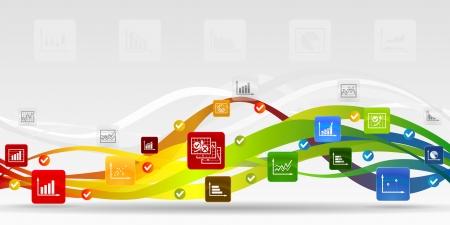 Zakelijke infographic mobiele applicaties abstracte achtergrond