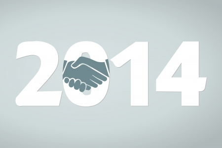 Year 2014 concept illustration with shake hands Stock Vector - 21635413