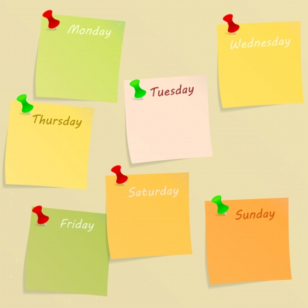 week end: Week days written on post-its