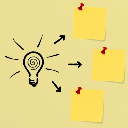 t bulb: Idea concept on a notice board Illustration