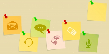 advertise with us: Contact us icon set sketched on post its