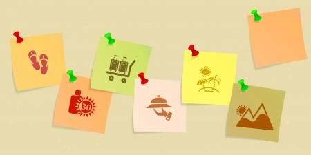 Holiday icon set sketched on post its Vector