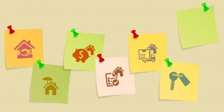 realtor: Real estate icon set sketched on post its