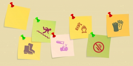 Safety icon set sketched on post its Vector