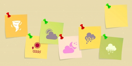 Weather icon set sketched on post its Vector