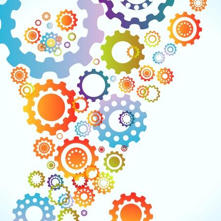 synergie: Farbige Zahnr�der Vektor abstrakten Hintergrund Illustration