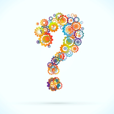 synergy: Colored cogwheels vector abstract question mark Illustration