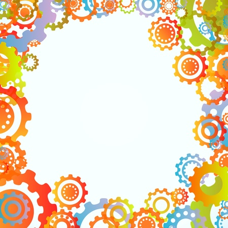 works: Colored cogwheels vector abstract frame