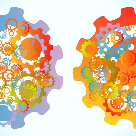 Colored cogwheels vector abstract tandem