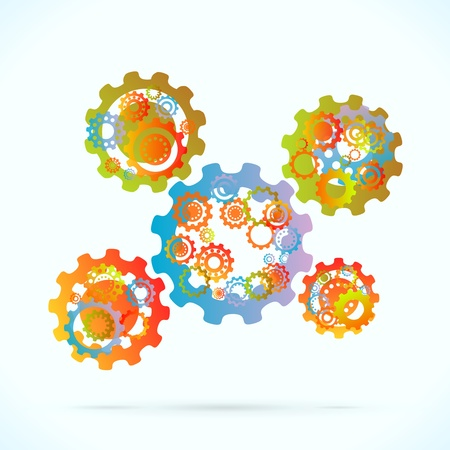 machinery space: Colored cogwheels vector abstract gearing