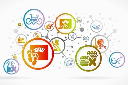 건강: 건강 아이콘 세트 벡터 추상적 인 배경