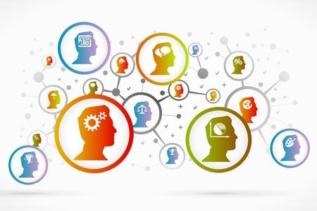vzdělávací: Icon Psychologie nastavit vektor abstraktní pozadí