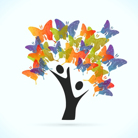 altruism: Butterfly tree vector concept illustration Illustration