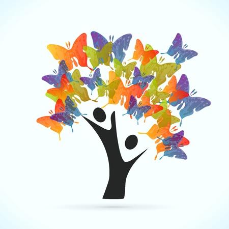 altruismo: �rbol de la mariposa ilustraci�n vectorial concepto