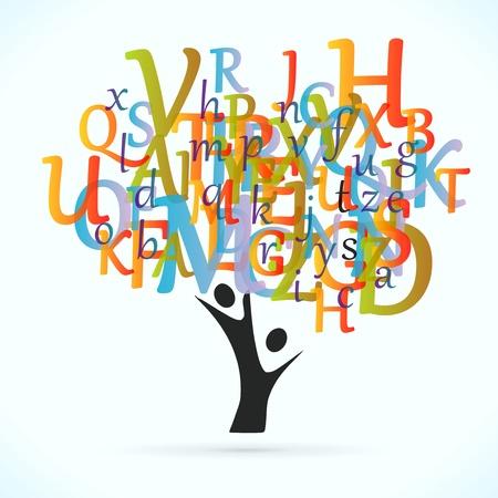教育木のベクトルの概念図  イラスト・ベクター素材