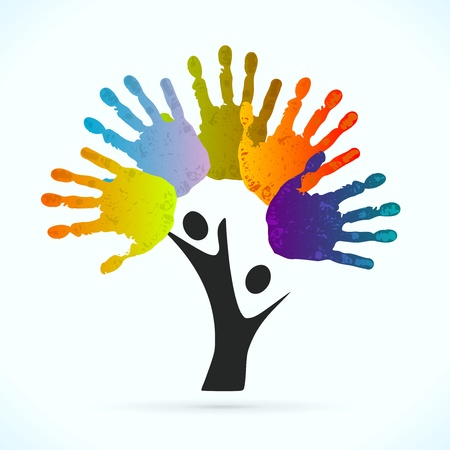 altruismo: �rbol Manos ilustraci�n vectorial concepto