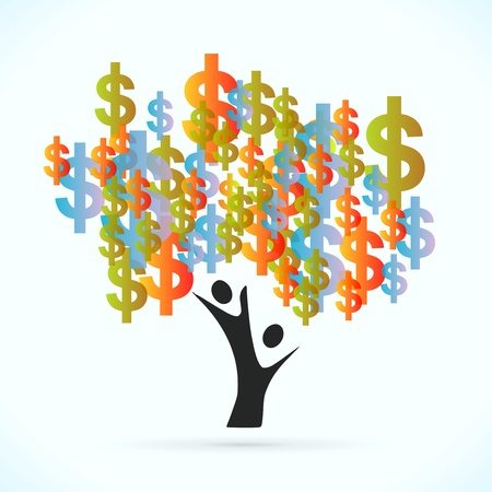 altruism: Money tree vector concept illustration