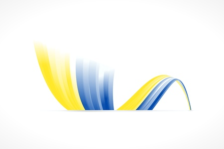 Abstract Ukrainian waving flag isolated on white background Vector