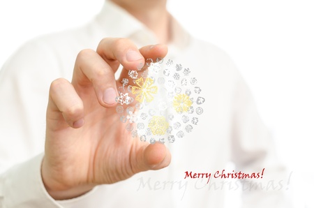 Man holding Christmas bubble ornament Stock Photo - 21897450